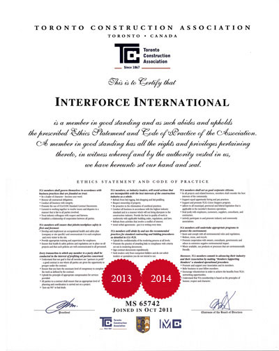 TCA Certificate of Interforce International